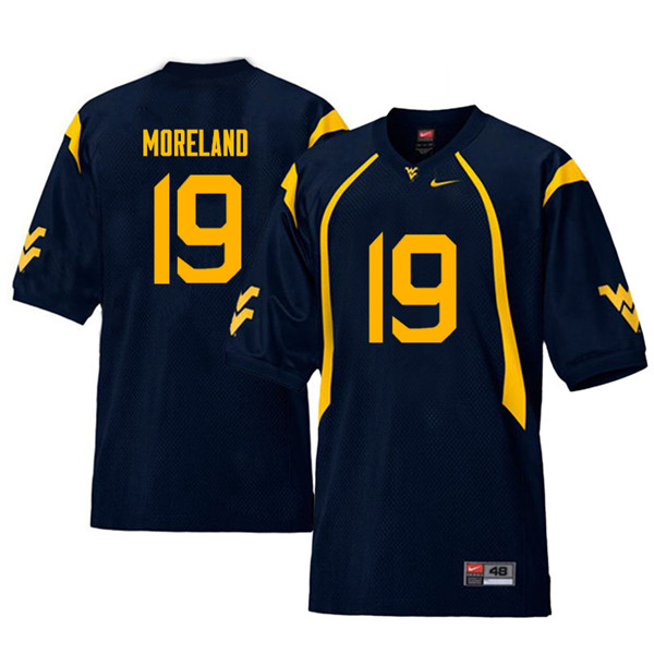 Men #19 Barry Moreland West Virginia Mountaineers Throwback College Football Jerseys Sale-Navy