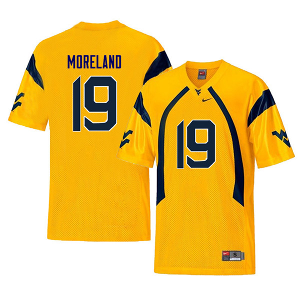 Men #19 Barry Moreland West Virginia Mountaineers Throwback College Football Jerseys Sale-Yellow