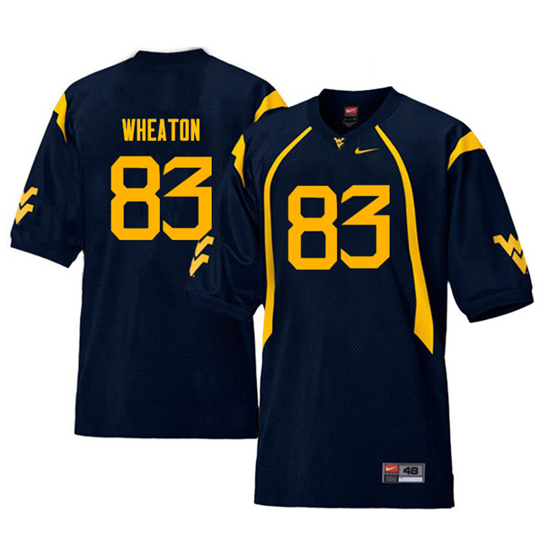 Men #83 Bryce Wheaton West Virginia Mountaineers Throwback College Football Jerseys Sale-Navy
