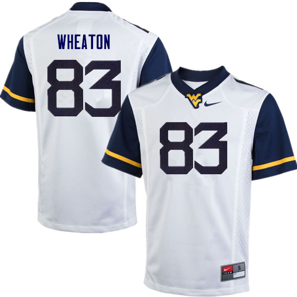 Men #83 Bryce Wheaton West Virginia Mountaineers College Football Jerseys Sale-White