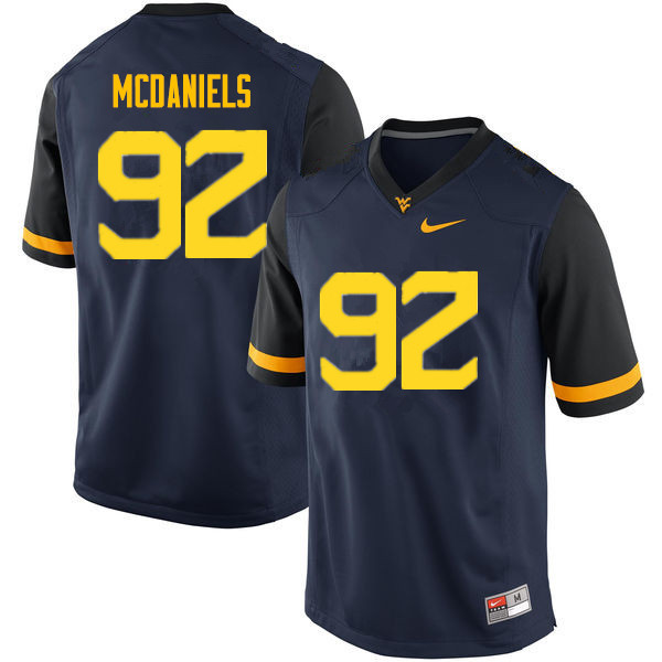 Men #92 Dalton McDaniels West Virginia Mountaineers College Football Jerseys Sale-Navy