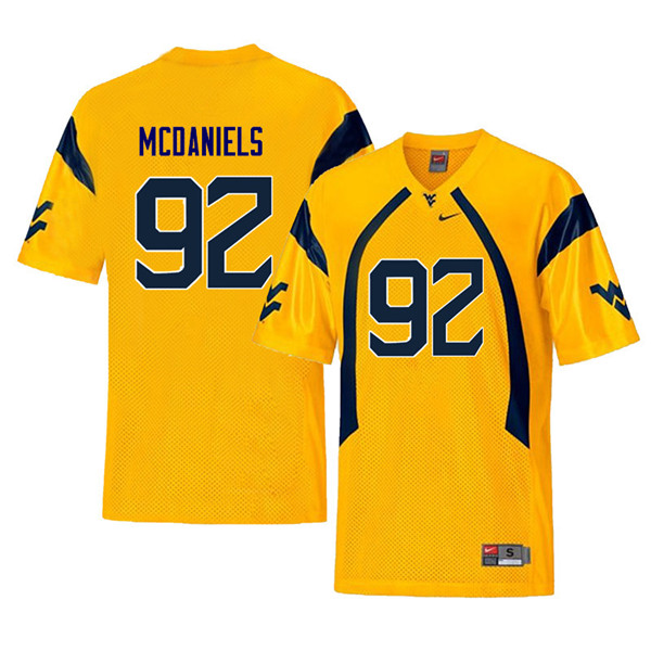 Men #92 Dalton McDaniels West Virginia Mountaineers Throwback College Football Jerseys Sale-Yellow