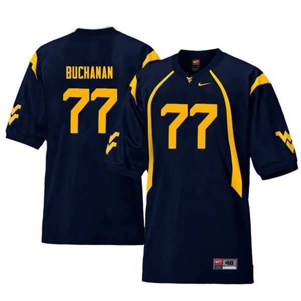 Men #77 Daniel Buchanan West Virginia Mountaineers Throwback College Football Jerseys Sale-Navy