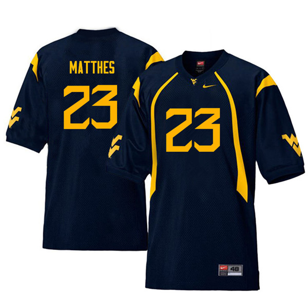 Men #23 Evan Matthes West Virginia Mountaineers Throwback College Football Jerseys Sale-Navy