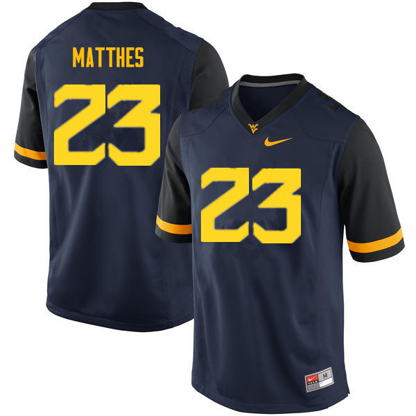 Men #23 Evan Matthes West Virginia Mountaineers College Football Jerseys Sale-Navy