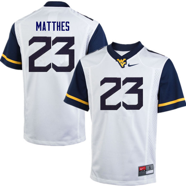 Men #23 Evan Matthes West Virginia Mountaineers College Football Jerseys Sale-White