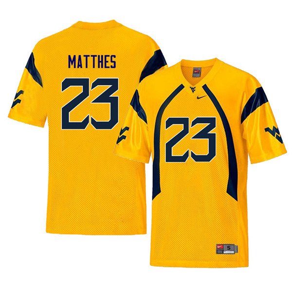 Men #23 Evan Matthes West Virginia Mountaineers Throwback College Football Jerseys Sale-Yellow
