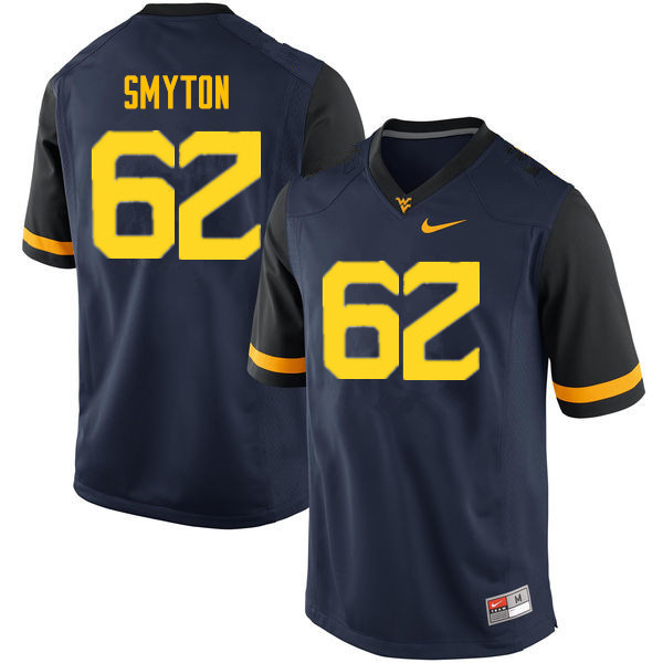 Men #62 Garrett Smyton West Virginia Mountaineers College Football Jerseys Sale-Navy