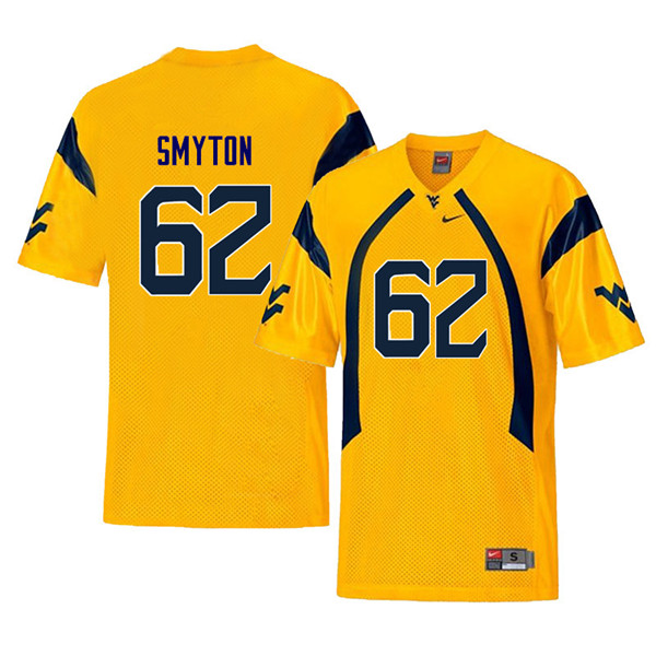 Men #62 Garrett Smyton West Virginia Mountaineers Throwback College Football Jerseys Sale-Yellow