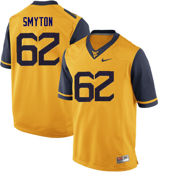 Men #62 Garrett Smyton West Virginia Mountaineers College Football Jerseys Sale-Yellow