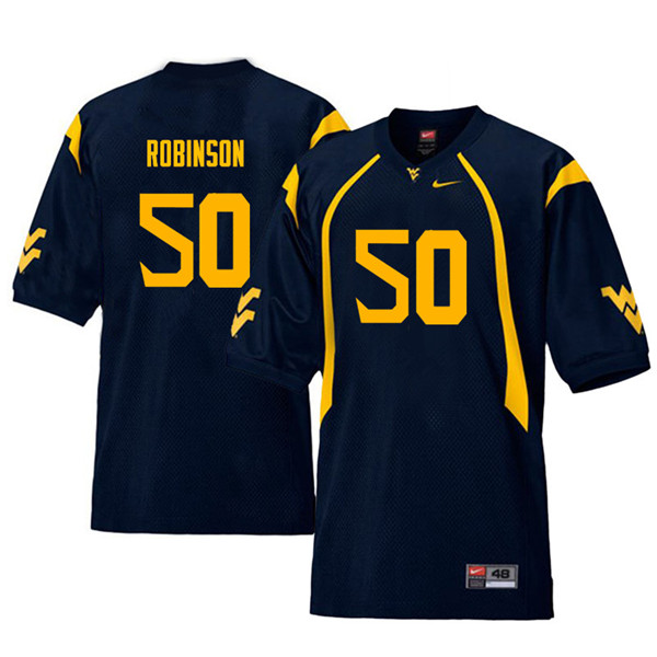 Men #50 Jabril Robinson West Virginia Mountaineers Throwback College Football Jerseys Sale-Navy