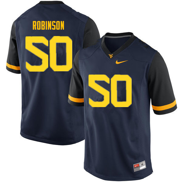 Men #50 Jabril Robinson West Virginia Mountaineers College Football Jerseys Sale-Navy