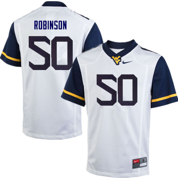 Men #50 Jabril Robinson West Virginia Mountaineers College Football Jerseys Sale-White