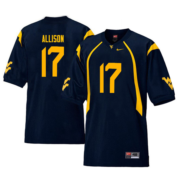 Men #17 Jack Allison West Virginia Mountaineers Throwback College Football Jerseys Sale-Navy