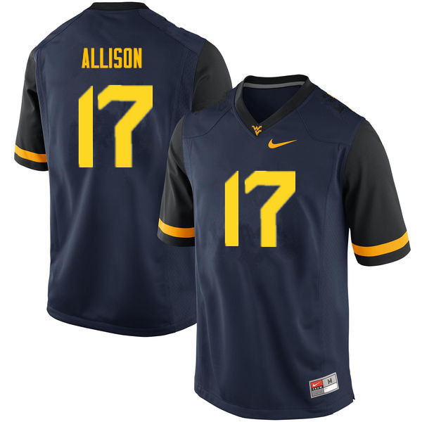 Men #17 Jack Allison West Virginia Mountaineers College Football Jerseys Sale-Navy