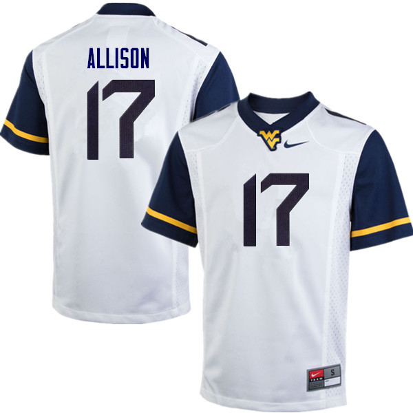 Men #17 Jack Allison West Virginia Mountaineers College Football Jerseys Sale-White