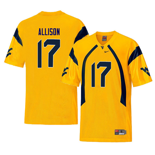 Men #17 Jack Allison West Virginia Mountaineers Throwback College Football Jerseys Sale-Yellow
