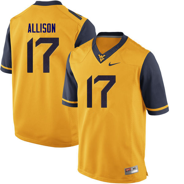 Men #17 Jack Allison West Virginia Mountaineers College Football Jerseys Sale-Yellow