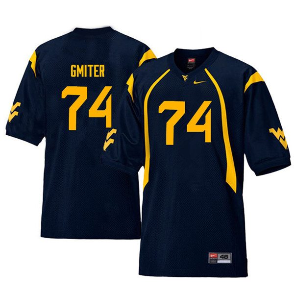 Men #74 James Gmiter West Virginia Mountaineers Throwback College Football Jerseys Sale-Navy