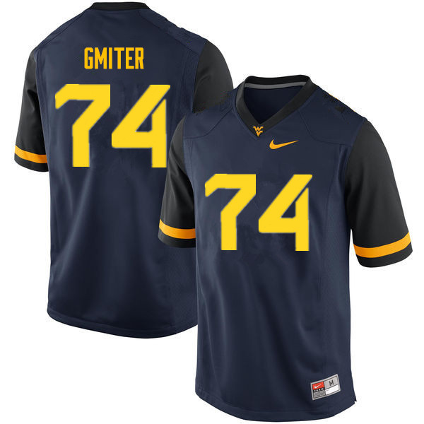 Men #74 James Gmiter West Virginia Mountaineers College Football Jerseys Sale-Navy