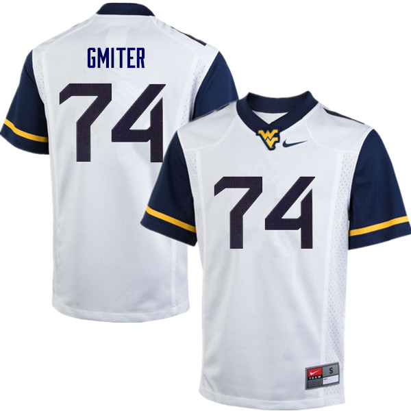 Men #74 James Gmiter West Virginia Mountaineers College Football Jerseys Sale-White