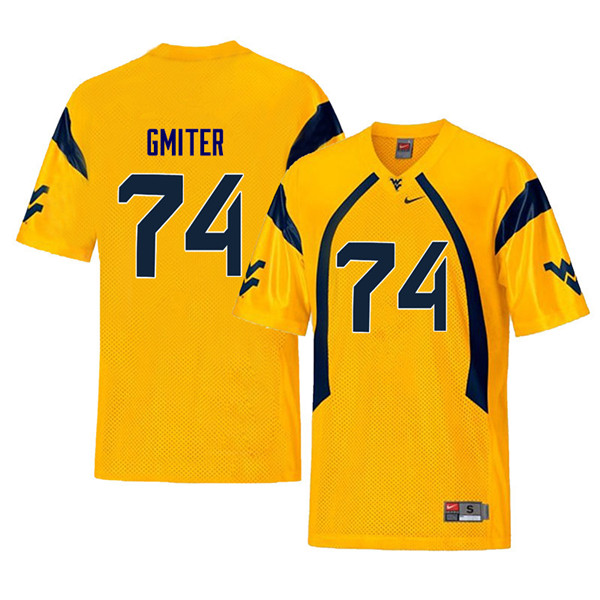 Men #74 James Gmiter West Virginia Mountaineers Throwback College Football Jerseys Sale-Yellow