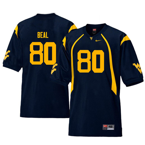 Men #80 Jesse Beal West Virginia Mountaineers Throwback College Football Jerseys Sale-Navy