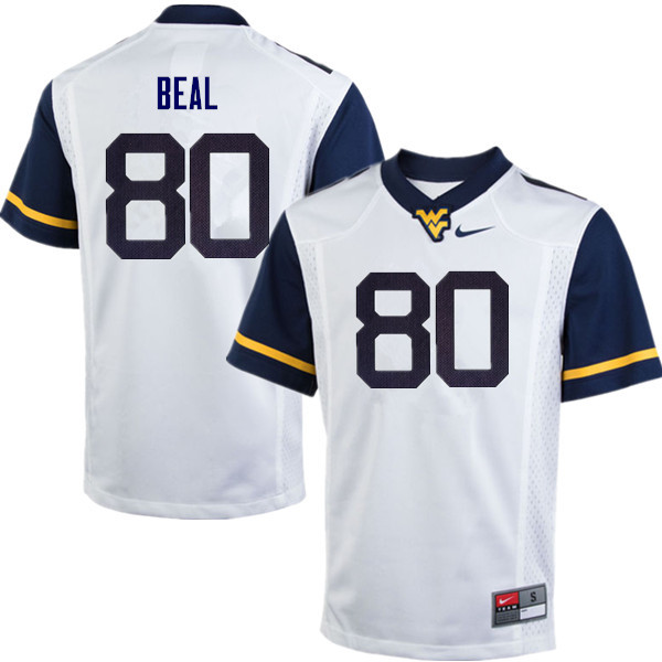 Men #80 Jesse Beal West Virginia Mountaineers College Football Jerseys Sale-White