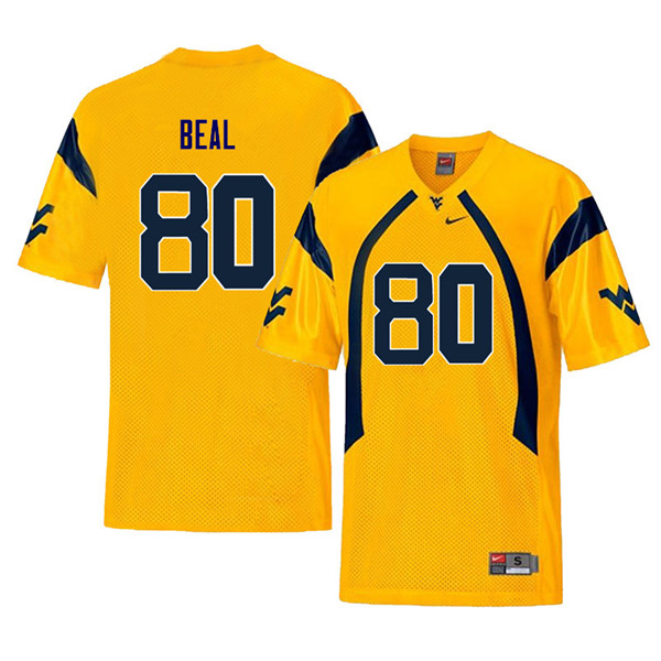 Men #80 Jesse Beal West Virginia Mountaineers Throwback College Football Jerseys Sale-Yellow