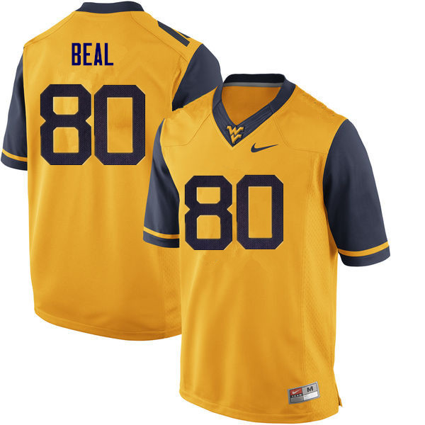Men #80 Jesse Beal West Virginia Mountaineers College Football Jerseys Sale-Yellow