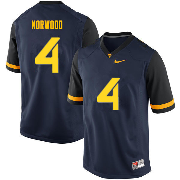 Men #4 Josh Norwood West Virginia Mountaineers College Football Jerseys Sale-Navy