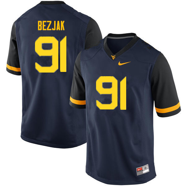 Men #91 Matt Bezjak West Virginia Mountaineers College Football Jerseys Sale-Navy