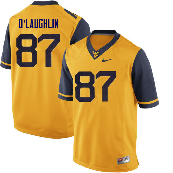 Men #87 Mike O'Laughlin West Virginia Mountaineers College Football Jerseys Sale-Yellow