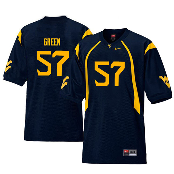 Men #57 Nate Green West Virginia Mountaineers Throwback College Football Jerseys Sale-Navy