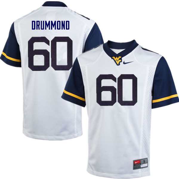 Men #60 Noah Drummond West Virginia Mountaineers College Football Jerseys Sale-White