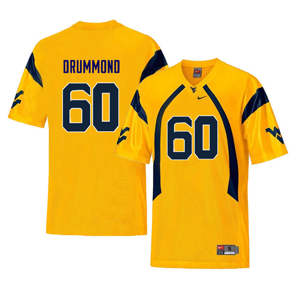 Men #60 Noah Drummond West Virginia Mountaineers Throwback College Football Jerseys Sale-Yellow