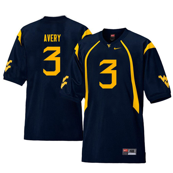 Men #3 Toyous Avery West Virginia Mountaineers Throwback College Football Jerseys Sale-Navy
