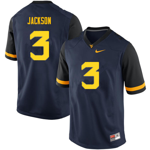 Men #3 Trent Jackson West Virginia Mountaineers College Football Jerseys Sale-Navy