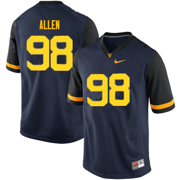 Men #98 Tyrese Allen West Virginia Mountaineers College Football Jerseys Sale-Navy