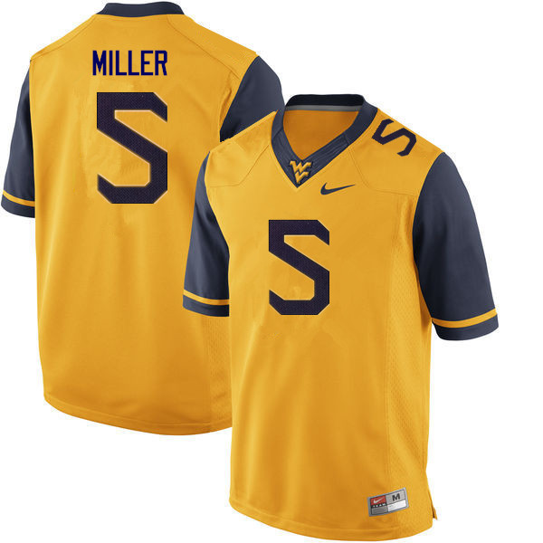 Men #5 Dreshun Miller West Virginia Mountaineers College Football Jerseys Sale-Gold