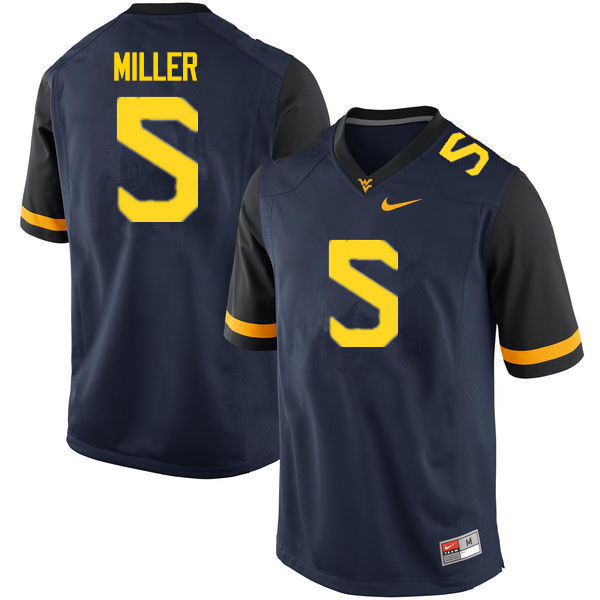 Men #5 Dreshun Miller West Virginia Mountaineers College Football Jerseys Sale-Navy
