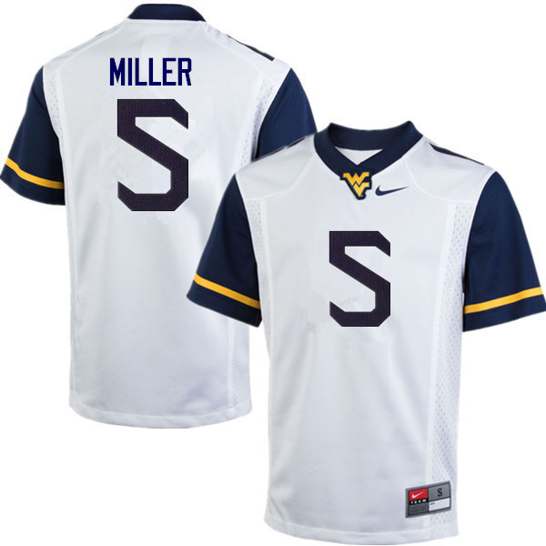 Men #5 Dreshun Miller West Virginia Mountaineers College Football Jerseys Sale-White