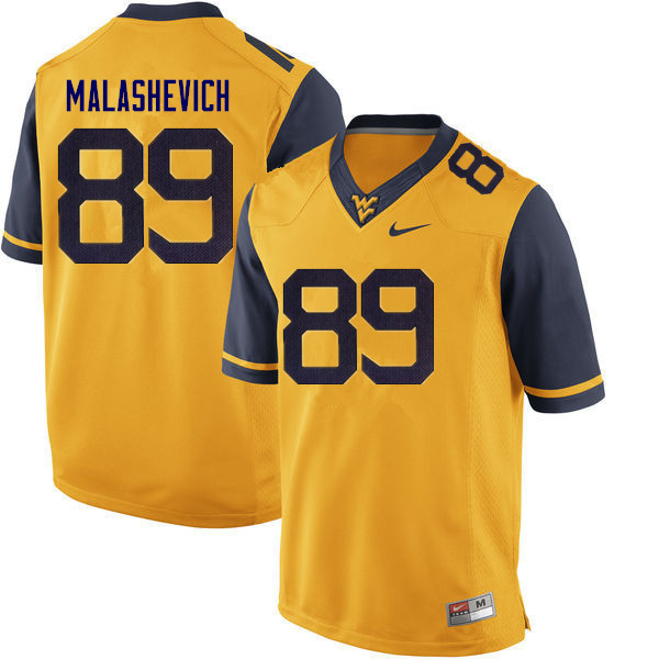 Men #89 Graeson Malashevich West Virginia Mountaineers College Football Jerseys Sale-Gold