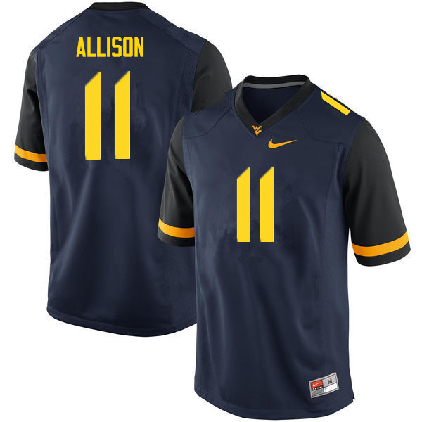 Men #11 Jack Allison West Virginia Mountaineers College Football Jerseys Sale-Navy
