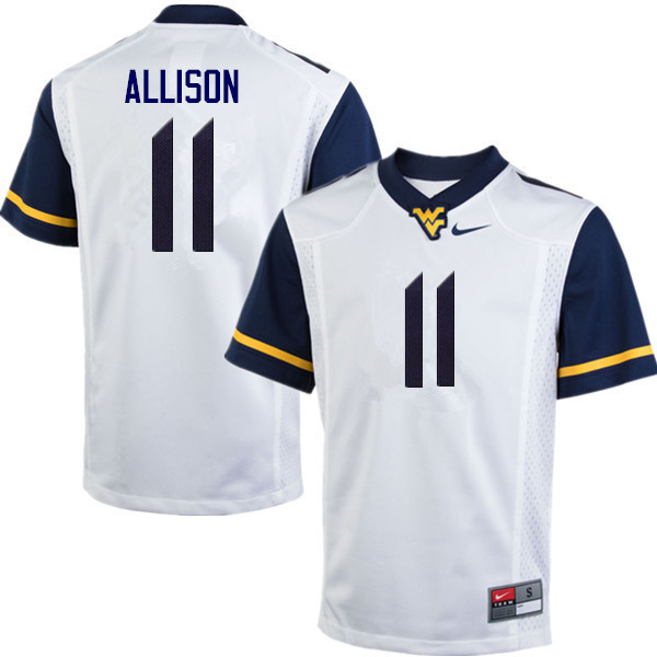 Men #11 Jack Allison West Virginia Mountaineers College Football Jerseys Sale-White