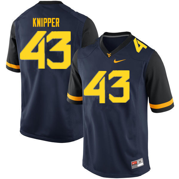 Men #43 Jackson Knipper West Virginia Mountaineers College Football Jerseys Sale-Navy