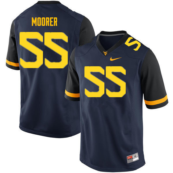 Men #55 Parker Moorer West Virginia Mountaineers College Football Jerseys Sale-Navy