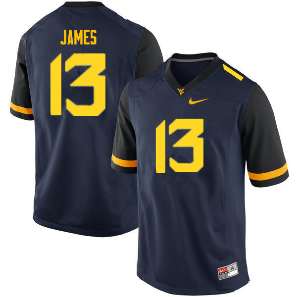 Men #13 Sam James West Virginia Mountaineers College Football Jerseys Sale-Navy