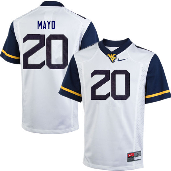 Men #20 Tae Mayo West Virginia Mountaineers College Football Jerseys Sale-White