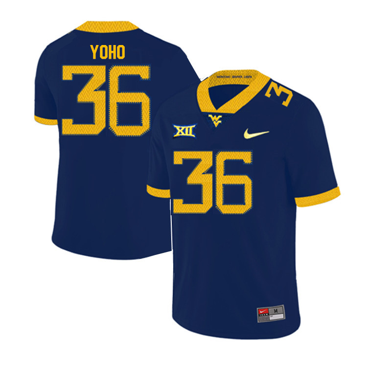 Men #36 Nick Yoho West Virginia Mountaineers College Football Jerseys Sale-Navy